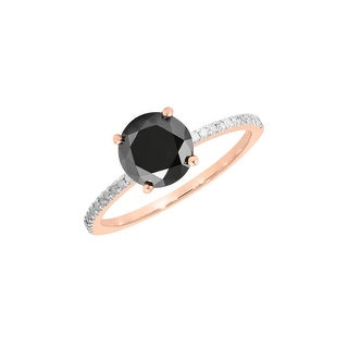 Prism Jewel 0.76 Carat Round Black Color Diamond with Diamond Engagement Ring - White G-H