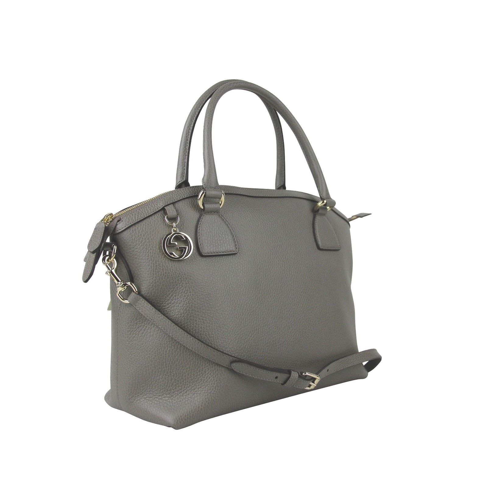 9b9f3839d Shop Gucci GG Charm Grey Leather Large Convertible Dome Bag With Detachabel Strap  449660 1226 - Free Shipping Today - Overstock - 27603248