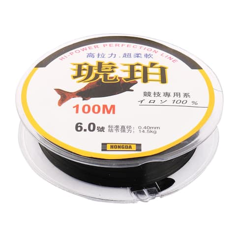 Unique Bargains Outdoor Nylon Reel Spool Angling Fishing Line Black Clear 100m Length 0.4mm Dia