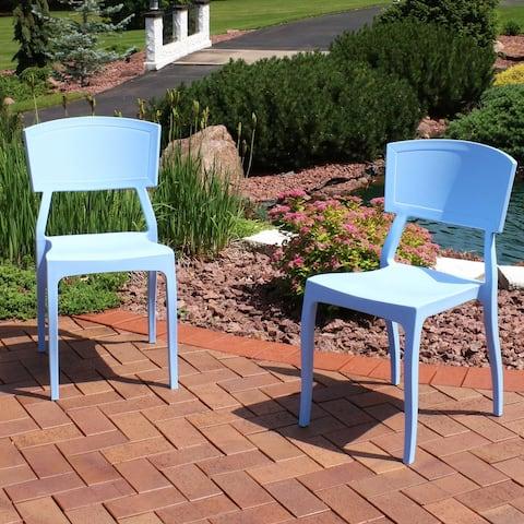 Sunnydaze Elmott Indoor Outdoor Plastic Patio Dining Chair - Light Blue - 2-Pack