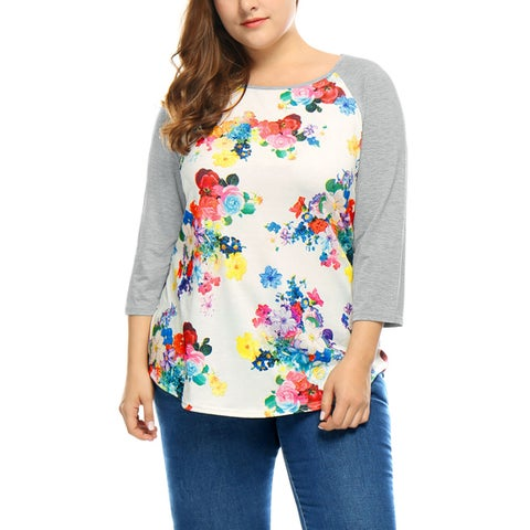 Allegra K Women's Plus Size Floral Prints 3/4 Raglan Sleeves Paneled Tee Shirt - White
