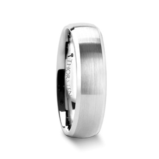 THORSTEN - POLARIS Domed Brushed Finish Tungsten Ring with Polished Bevels - 6mm