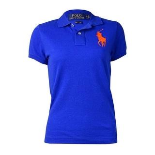 Polo Ralph Lauren Women's Stitched Logo Polo Shirt (S, Sapphire Star) - s