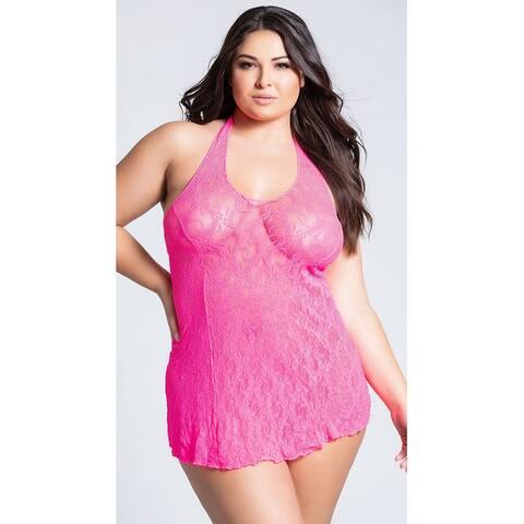 Plus Size Lace Halter Top Mini Dress, Plus Size Lace Dress Lingerie - XLarge