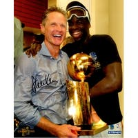 Steve Kerr Golden State Warriors Holding 2017 NBA Champs Trophy With Draymond Green 8x10 Photo