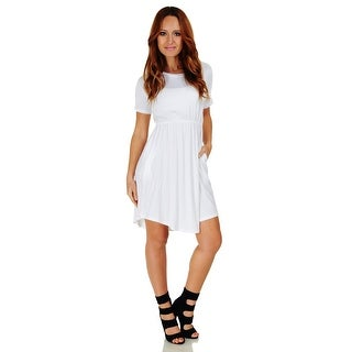 Simply Ravishing Women's Short Sleeve Casual Knee Length Blouson Dress (Size: S-3X) (More options available)