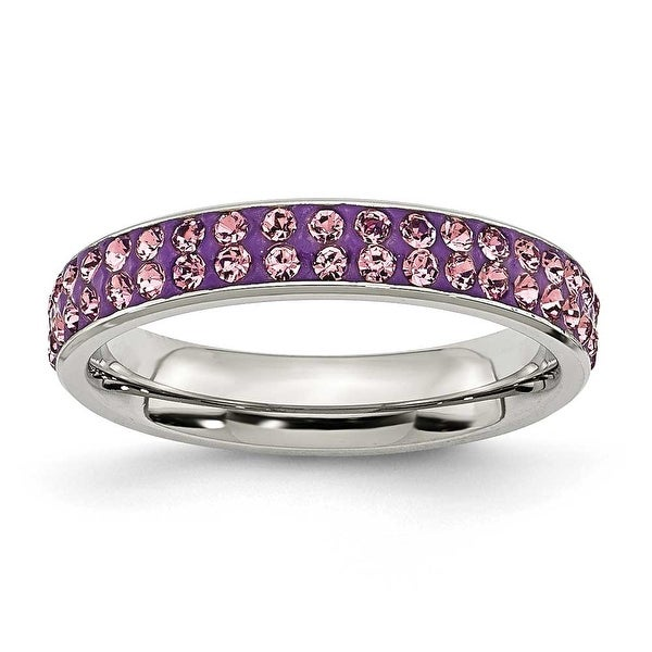 Chisel Stainless Steel 4mm Polished Light Purple Crystal Ring
