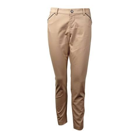 Lauren Ralph Lauren Women's Pleather Trim Slim-Fit Pants