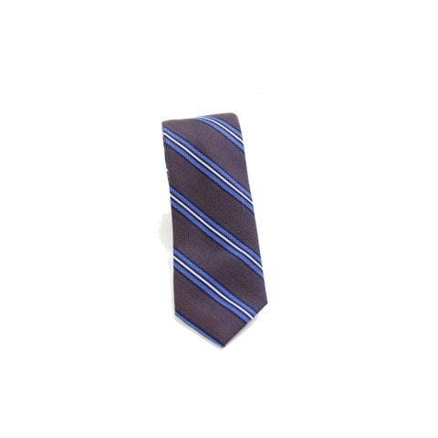 Black Brown NEW Brown Blue Heather Stripe Woven Classic Neck Tie Silk