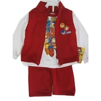 Marvels Baby Boys Red White Justice League Vest Shirt 3 Pc Pants Set 12-24M