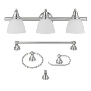 Globe Electric 50700 Estoril 5-Piece Bathroom Vanity Light Set with Towel Bar, Towel Ring, Robe Hook, and Toilet Paper Holder