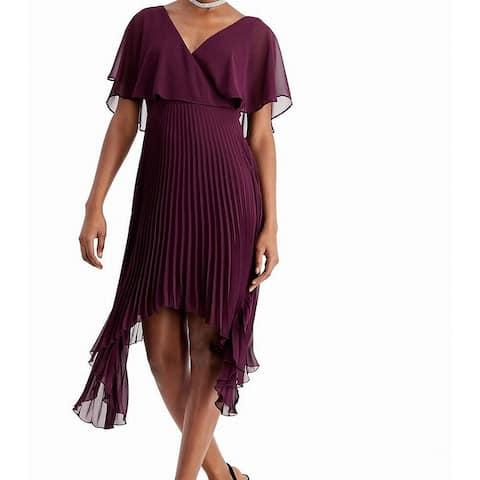 Kensie Women's Dress Purple Size 0 A-Line Chiffon Pleated Hanky Hem