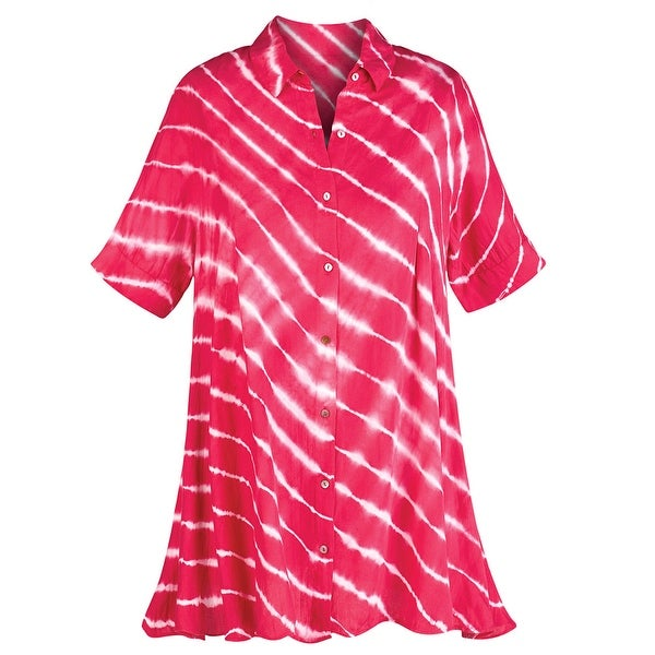 8b7c7fc8 Shop Women's Tunic Top - Red and White Candy Striped Button Down Shirt -  Free Shipping On Orders Over $45 - Overstock - 15445056