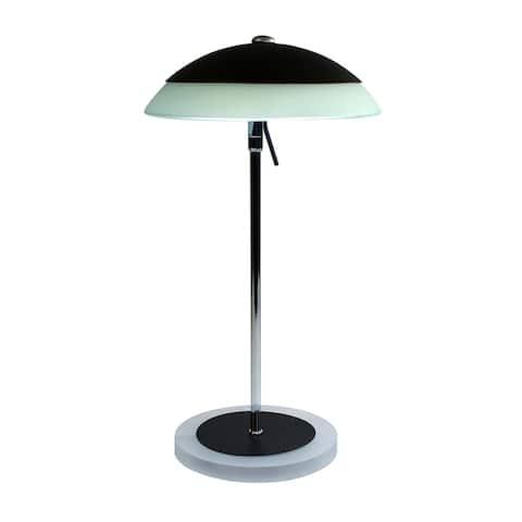 Adjustable Head Radial LED Desk Lamp, Natural Daylight, Compact Design, 8W, 450 Lumens, Black/Silver