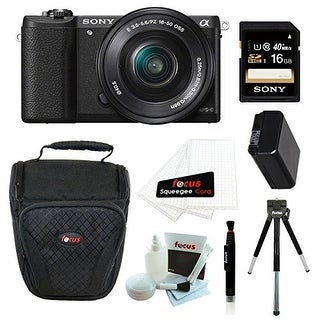 Sony Alpha a5100 ILCE5100L/B with 16-50mm Lens 24MP Mirrorless Interchangeable Lens Digital Camera (Black) 16GB Bundle