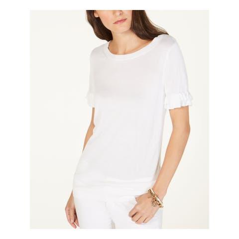MICHAEL KORS Womens White Kimono Sleeve Jewel Neck Top Size S