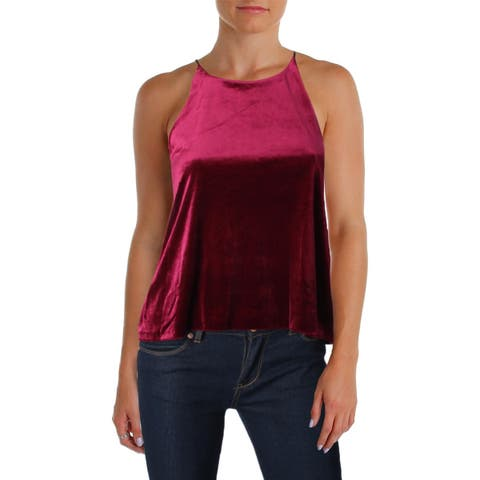 Aqua Womens Casual Top Velvet Halter