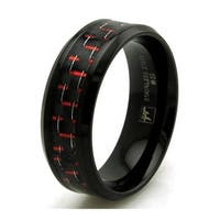 Black Stainless Steel Ring w/ Red Carbon Fiber Inlay
