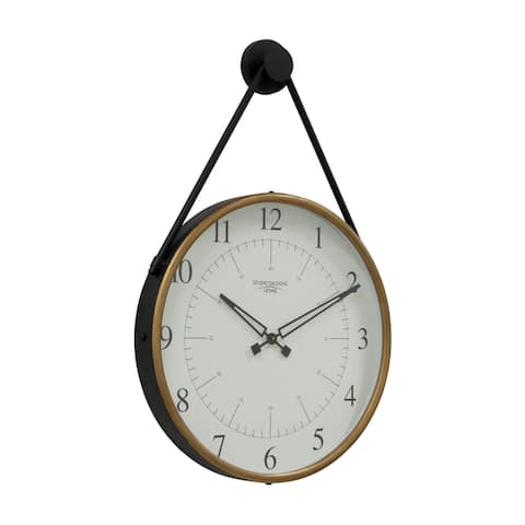 """Offex 19"""" Hanging Wall Clock with Metal Cord - Golden Brass / Black"""