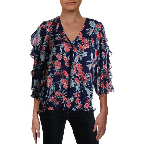 Parker Womens Wrap Top Surplice Smocked - Aster - S