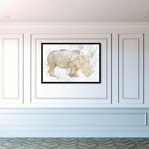 Oliver Gal 'Gold Rhino' Animals Framed Wall Art Prints Zoo and Wild Animals - Gold, Gray