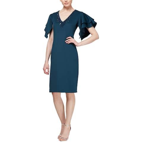 SLNY Womens Flutter Sleeve Sheath Dress, blue, 6