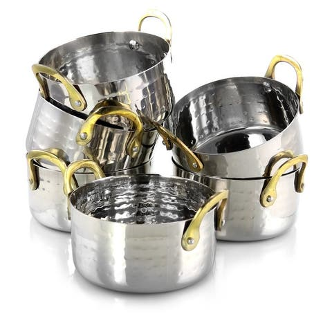 Gibson Home Lannister 6Pc 16oz Stainless Steel Mini Dutch Oven Cookware Serveware Set