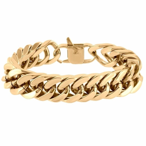Custom Miami Cuban Link Bracelet 18mm Thick Rose Gold Over Stainless Steel 9.0""