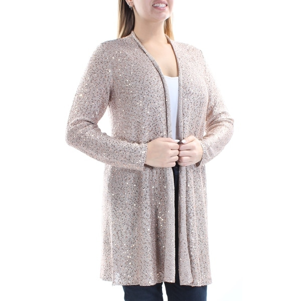 2d91432be279 ALFANI $79 Womens New 1146 Gold Sequined Open Cardigan Long Sleeve Sweater  L B+B