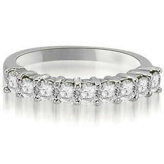 1.30 cttw. 14K White Gold Round Diamond 9-Stone Prong Wedding Band