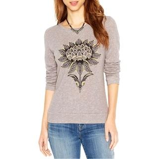 Lucky Brand Womens Sweatshirt Cotton Embroidered