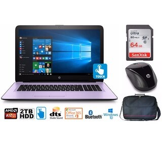 """HP Notebook 17 Bundle, AMD A12, 2TB HD, 12GB, 17.3"""" TouchScreen, Office 365 1-Yr (Certified Refurbished) - Pink"""