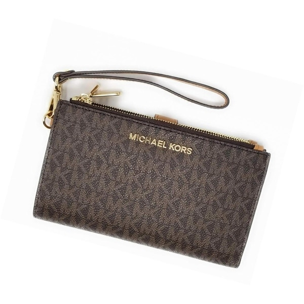 52a75f9443f9 Shop Michael Kors Jet Set Travel double Zip Wristlet 35F8GTVW0B (Brown  2018) - Free Shipping Today - Overstock - 26057847