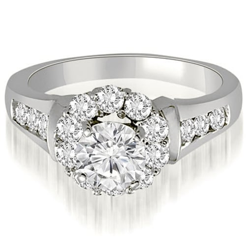 1.50 cttw. 14K White Gold Halo Round Cut Diamond Engagement Ring