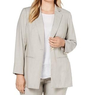 Calvin Klein Womens Jackets Beige Size 18W Plus Stretch Notched-Lapel