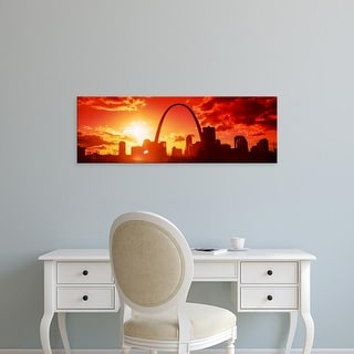 Easy Art Prints Panoramic Image 'Downtown buildings and Gateway Arch at sunset, St. Louis, Missouri, USA' Canvas Art