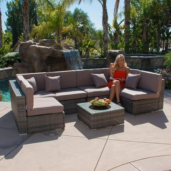 shop belleze 7 piece aluminum outdoor patio pe rattan wicker sofa rh overstock com deluxe garden furniture deluxe outdoor chairs
