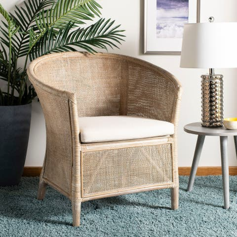 "Safavieh Alexana Rattan Armchair -White Washed - 31.5"" x 29.9"" x 25.6"""