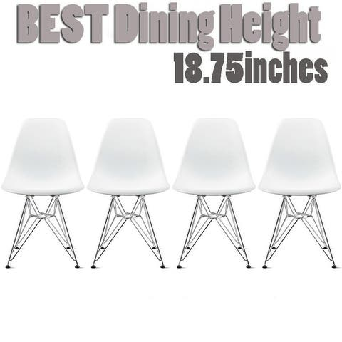 2xhome Modern Side Dining Chair Colors with Wire Chrome Legs Base (Set of 4)
