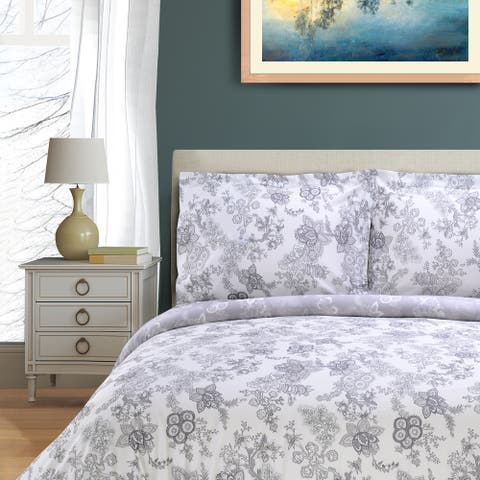 Miranda Haus Blossom 300 Thread Count 3-piece Cotton Duvet Cover Set