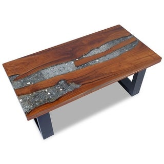 "vidaXL Coffee Table Teak Resin 39.4""x19.7"""