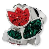 Sterling Silver Reflections Red &  Green Crystal Flower Bead