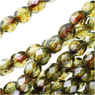Czech Fire Polished Glass Beads 4mm Round Lumi Coated - Green (50)