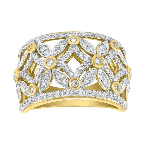 14K Yellow Gold 3/4ct TDW Diamond Wide Band Ring by Beverly Hills Charm