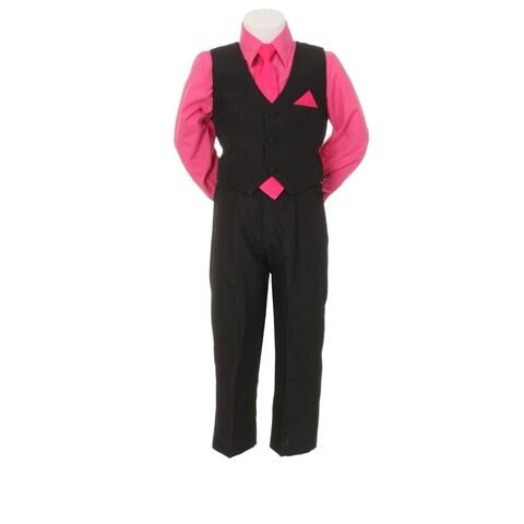 Little Boys Fuchsia Black Pants Vest Tie Shirt Special Occasion Set 1-7