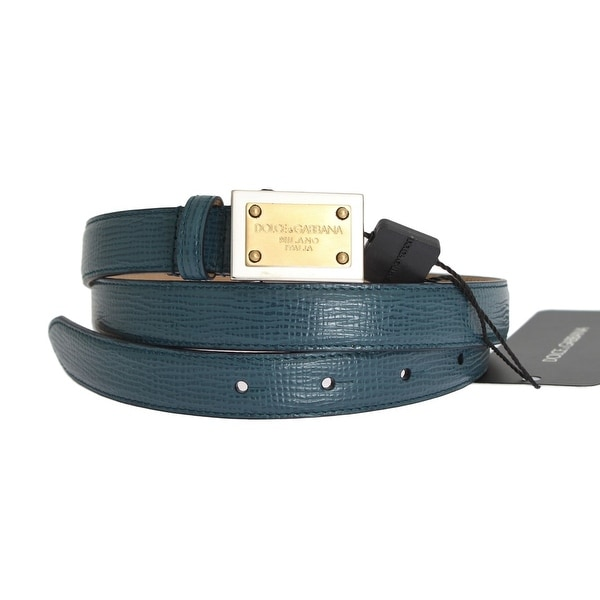 79372861a63 Shop Dolce   Gabbana Blue Leather Gold Silver Buckle Belt - Free ...