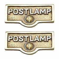 2 Switch Plate Tags POST LAMP Name Signs Labels Brass | Renovator's Supply