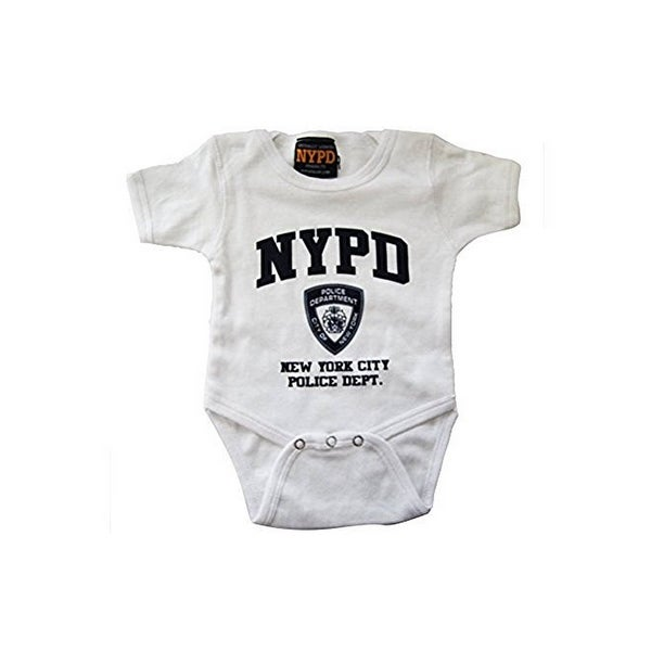 Nypd Infant Onesie White with Navy Chest Print