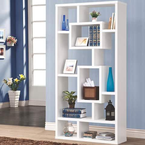 Modern Mosaic Design White Bookcase Display