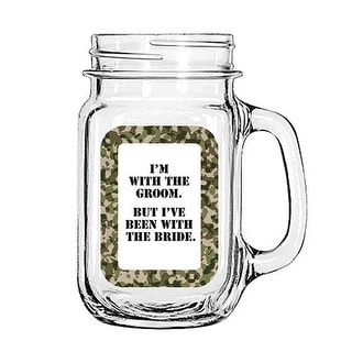 Vintage Glass Mason Jar Cup Mug Lemonade Tea Decor Painted Funny-I'm with the Groom. But I've been with the Bride.